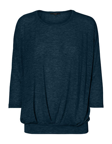 Vero Moda Jakuri Pleat Top-NAVY-Small