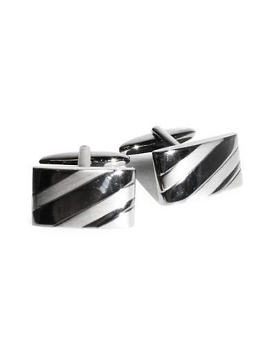 Black Brown 1826 Two-Tone Regimental Striped Brass Cufflinks-GUNMETAL-One Size
