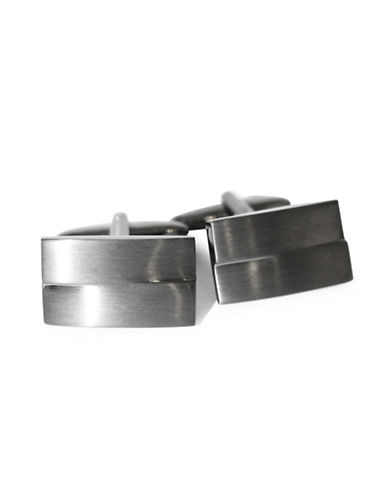 Black Brown 1826 Offset Rectangle Brass Cufflinks-GUNMETAL-One Size