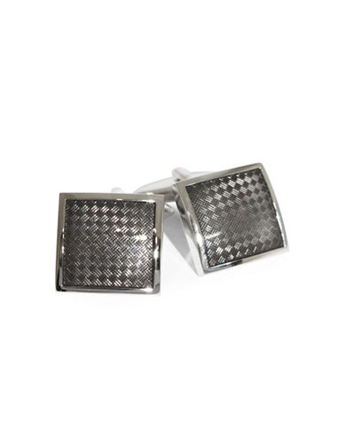 Black Brown 1826 Diamond Insert Brass Cufflinks-DARK GREY CHARCOAL-One Size