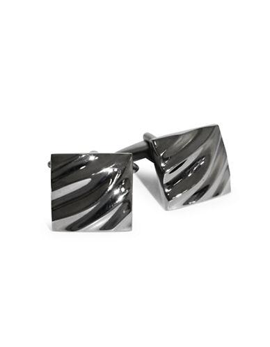 Black Brown 1826 Wave Textured Brass Cufflinks-BLACK NICKEL-One Size