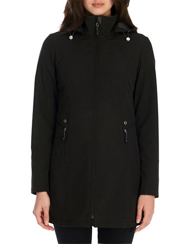 London Fog Flat Front Soft Shell Water Resistant Jacket-BLACK-Small