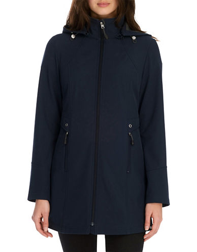 London Fog Flat Front Soft Shell Water Resistant Jacket-NAVY-Medium