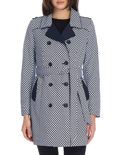 London Fog Double-Breasted Belted Trench-NAVY/WHITE-Small