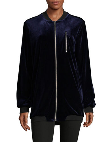 Nvlt Novelti Velvet Long Bomber Jacket-BLUE-X-Large 89543674_BLUE_X-Large