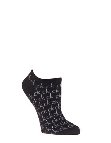 Calvin Klein Repeat Print Logo Liner Socks-BLACK-One Size