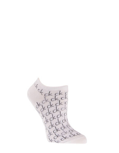 Calvin Klein Repeat Print Logo Liner Socks-WHITE-One Size