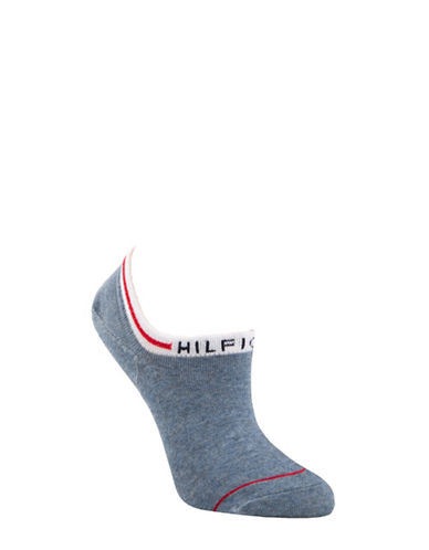 Tommy Hilfiger Two-Pair Underwear Logo Ankle Socks-BLUE-One Size
