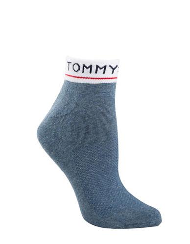 Tommy Hilfiger Two-Pair Underwear Logo Quarter Socks-BLUE-One Size