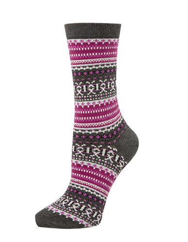 Tommy Hilfiger Two-Pack Fairisle Crew Socks-GRAPE-One Size