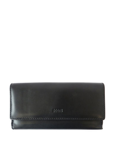 Roots 73 Cosmopolitan Large Leather Wallet-BLACK-One Size