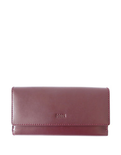 Roots 73 Cosmopolitan Large Leather Wallet-RED-One Size