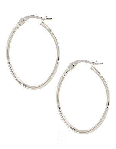 Fine Jewellery 14 White Gold Polished Wave Hoop Earrings-WHITE GOLD-One Size