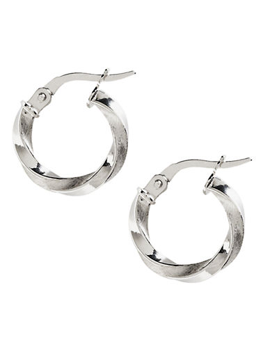 Fine Jewellery 14K White Gold Polished Satin Twisted Hoop Earrings-WHITE GOLD-One Size