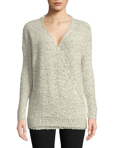 Design Lab Lord & Taylor Fuzzy Surplice Sweater-WHITE-X-Small