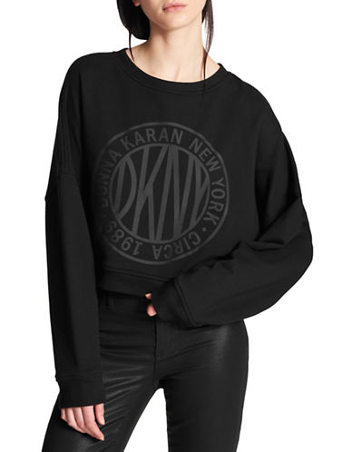 Dkny Tonal Logo Pullover Sweatshirt-BLACK-Medium