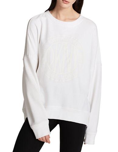 Dkny Tonal Logo Pullover Sweatshirt-WHITE-X-Small