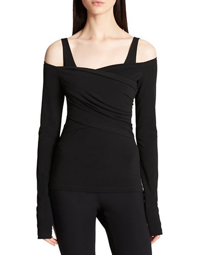 Dkny Cold-Shoulder Crossover Top-BLACK-Small