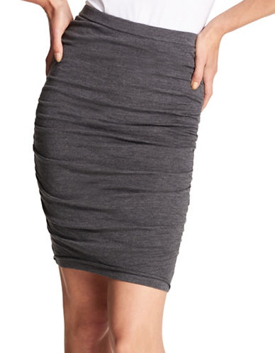 Dkny Wool Midi Skirt-GREY-Medium
