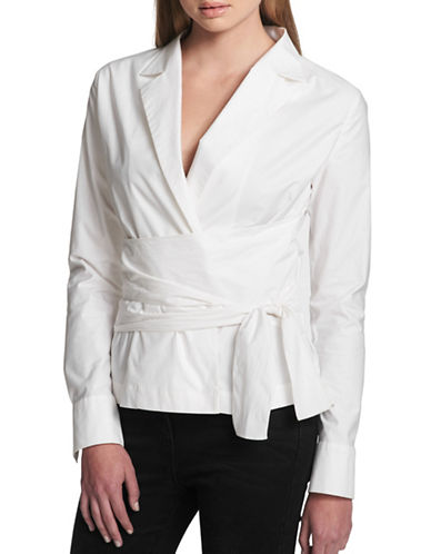 Dkny Lapel Wrap Tie Shirt-WHITE-Medium