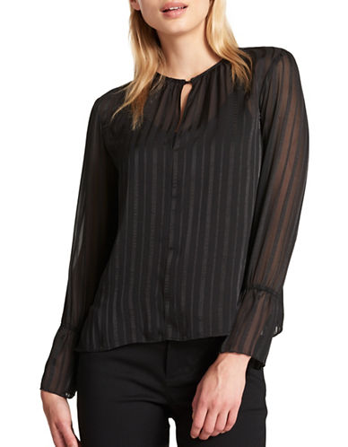 Dkny Gathered Keyhole Striped Blouse-BLACK-Large