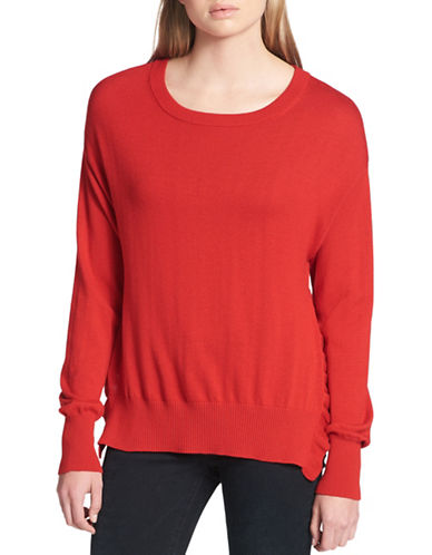 Dkny Ruffle Side-Slit Sweater-RED-X-Large