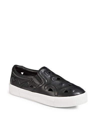Dkny Bess Leather Slip-On Sneakers-BLACK-6