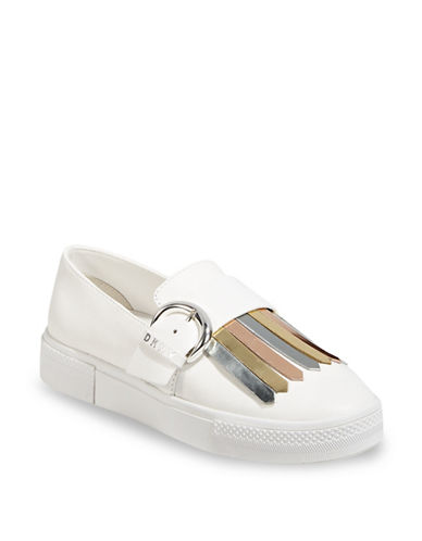 Dkny Jules Metallic Leather Sneakers-WHITE/GOLD-5