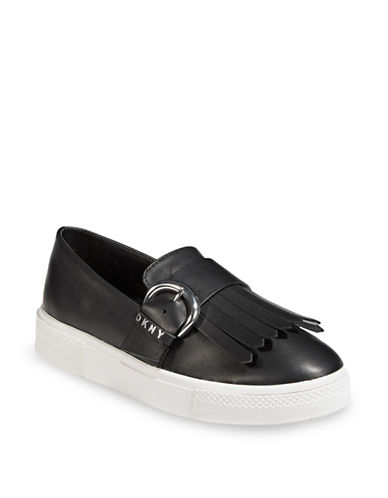 Dkny Jules Metallic Leather Sneakers-BLACK-8
