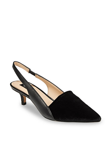 Dkny Point Toe Slingback Pumps-BLACK VELVET-6