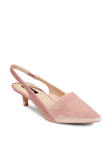 Dkny Point Toe Slingback Pumps-PINK VELVET-8