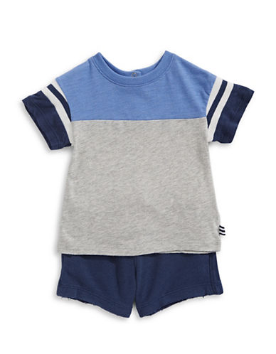 Splendid Football Shorts and T-Shirt Set-GREY-3-6 Months