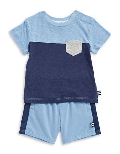 Splendid Splendid Pocket Tee and Shorts Set-BLUE-6-12 Months