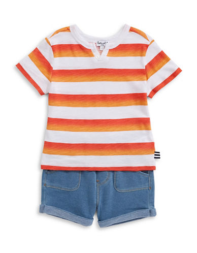 Splendid Two-Piece Ombre Stripe Tee and Shorts Set-ORANGE-12-18 Months