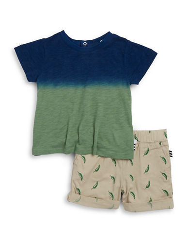 Splendid Dip Dyed Tee and Chili Pepper-Printed Shorts Set-BLUE-3-6 Months