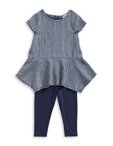 Splendid Two-Piece Striped Dress and Leggings Set-NAVY-6-12 Months