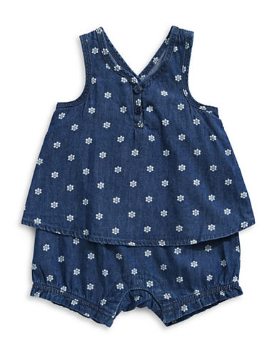 Splendid Printed Denim Romper-BLUE-0-3 Months