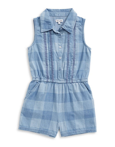 Splendid Check Chambray Romper-BLUE-4X
