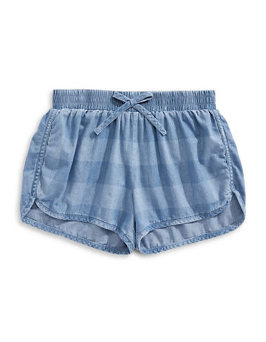 Splendid Gingham Check Shorts-BLUE-10