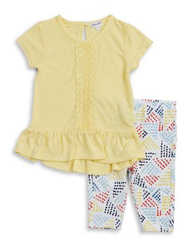 Splendid Flounce Crochet Top and Leggings Set-YELLOW-4X