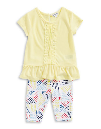 Splendid Two-Piece Flounce Top and Leggings Set-YELLOW-6-12 Months