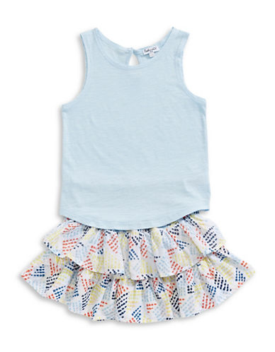 Splendid Two-Piece Tee and Skirt Set-BLUE-4