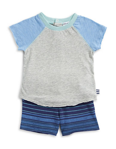 Splendid Raglan Tee and Striped Shorts Set-GREY-6-12 Months