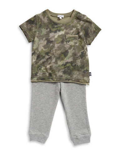 Splendid Two Piece Camo Tee & Bottoms-GREEN-3-6 Months