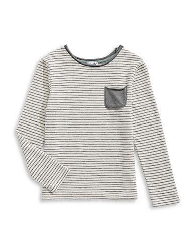 Splendid Striped Pocket Tee-WHITE-5-6