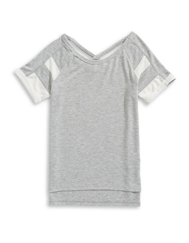 Splendid Loose Knit Football Top-GREY-12