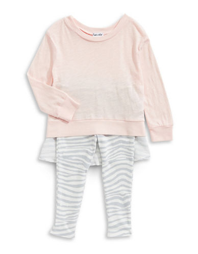 Splendid Two-Piece Zebra Dress and Leggings Set-LIGHT PINK-2X