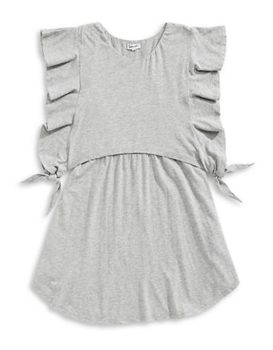 Splendid V-Neck Jersey Dress-GREY-14