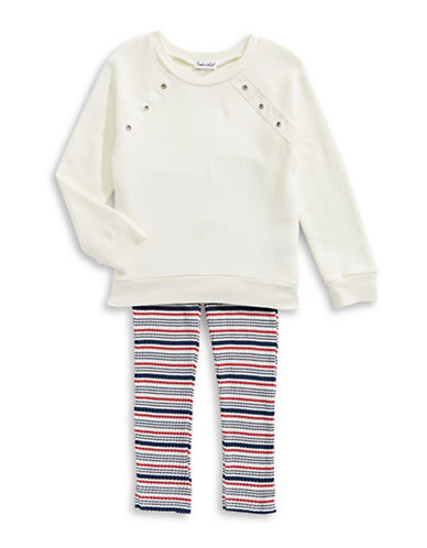 Splendid Grommet Sweatshirt and Rib-Stripe Leggings Set-WHITE/STRIP-5