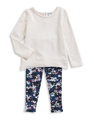 Splendid Two-Piece Minimalist Top and Floral Leggings Set-OATMEAL-4